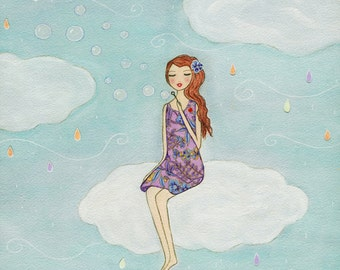 Girl Painting, Romantic Whimsical Folk Art Painting, Art Print on Wood for Nursery Decor Girls Wall Art