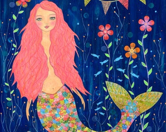 Mermaid Painting - Mermaid Art - Mermaid Illustration - Mixed media Painting - Pink Mermaid Painting - Wooden Art Block - Nursery Wall Art