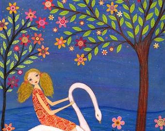 Nursery Decor Swan Princess Painting, Girl with Swan Fairytale Painting, Children Decor
