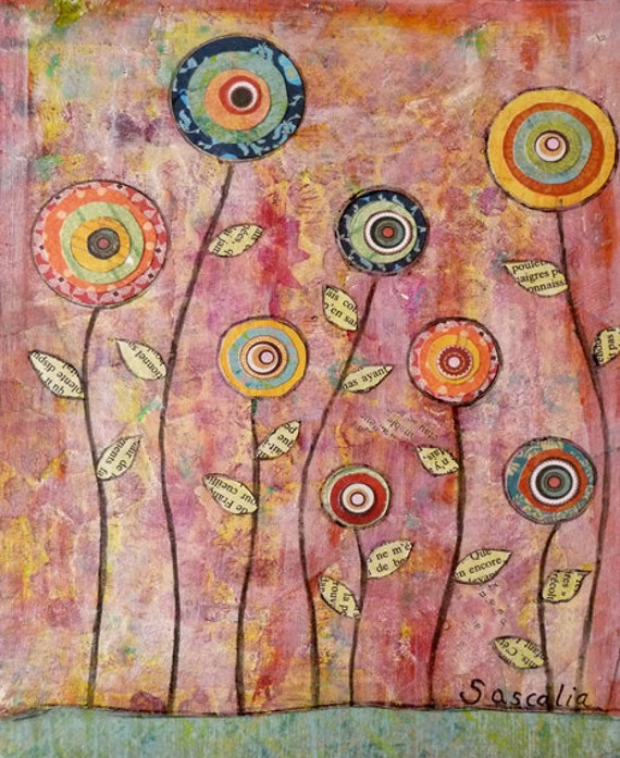 Abstract Flowers Painting Art Print on Wood Flowers 1