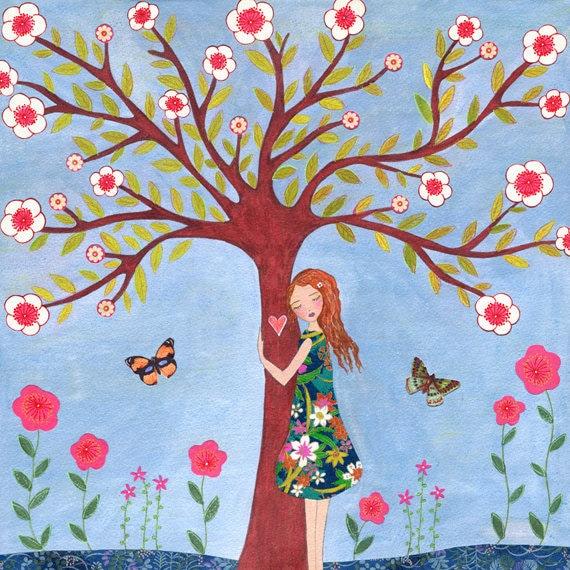 Childrens Art Nature Lover Painting Kids Decor Nursery Art Decor Tree Hugger Painting Art for Girls Room Nursery