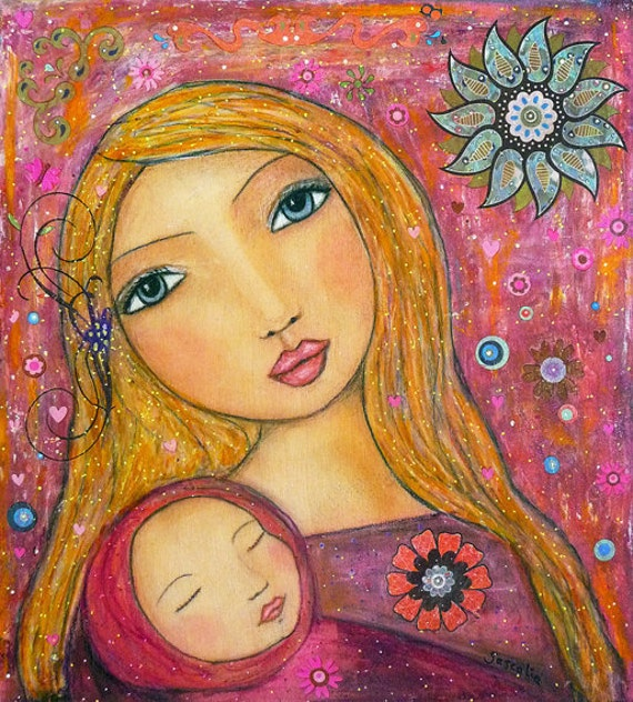 Mother and Baby Painting - Mother Painting - Mother Illustration - Wooden Art Block - Mothers Day Gift