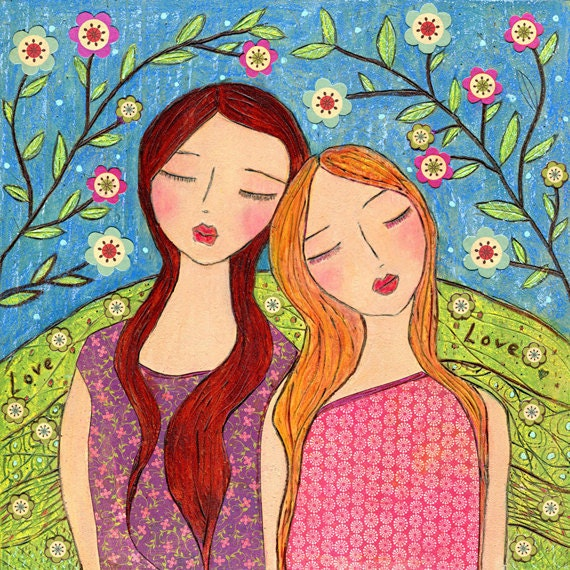 Friendship Sister Painting, Sister Art Print on Wood Folk Art Girl Painting, Lean on me
