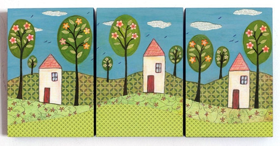Whimsical House Landscape Collage Triptych Painting Art Print on Wood