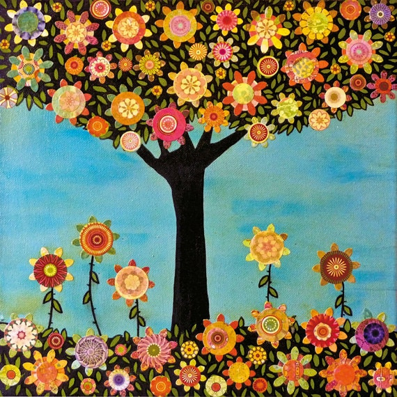 Mixed Media Art Collage Tree Art Print Abstract Folk Art Collage Painting In Full Bloom
