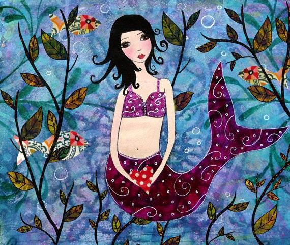 Whimsical Little Mermaid Art Print by Sascalia