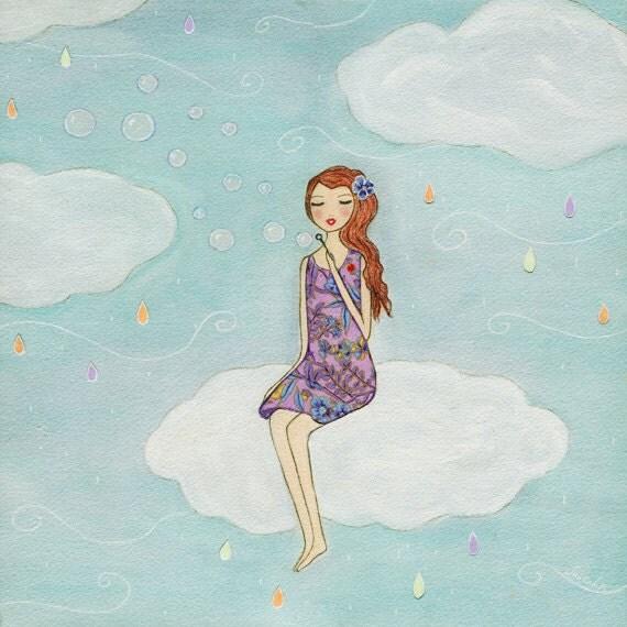 Whimsical Fairytale Girl Art Print Nursery Decor Fantasy Art