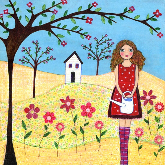 Folk Art Girl Painting Art Print Flower Garden