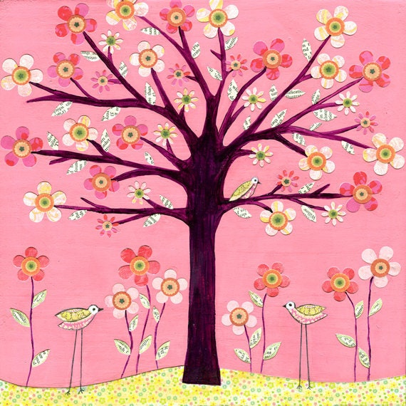 Bird Tree Mixed Media Painting, Children Decor, Nursery Art Print, Baby Nursery Decor by Sascalia