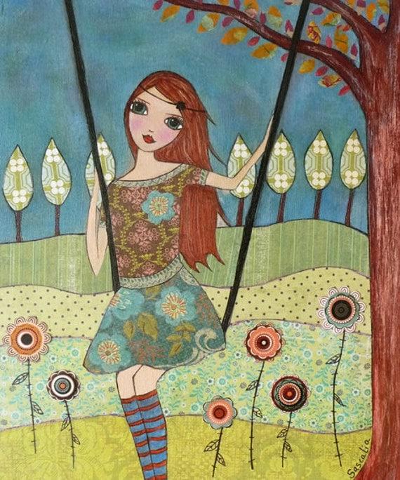 Folk Art Girl Painting Art Print Block Whimsical Girl By
