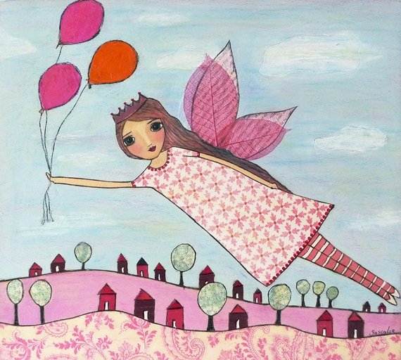 Fairy Art Print Block Pink Flying Princess Painting Fairy Tale Art
