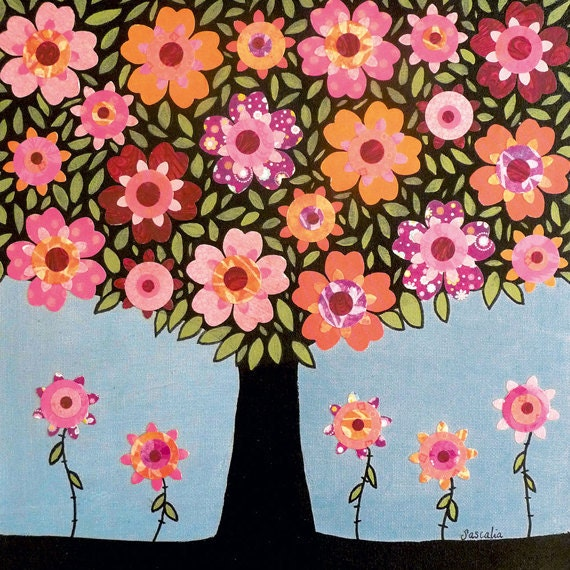 Pink Orange Flowering Tree Painting Art Print Block Mixed Media Collage