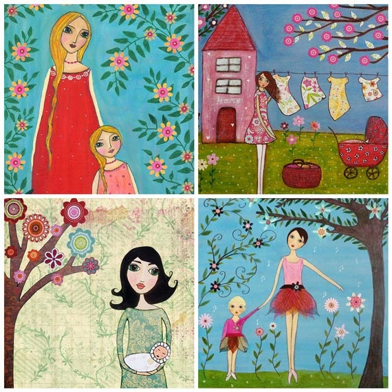 Motherhood Mother and Baby Child Painting Art Print Set Four 5 inch by 5 Inch Prints