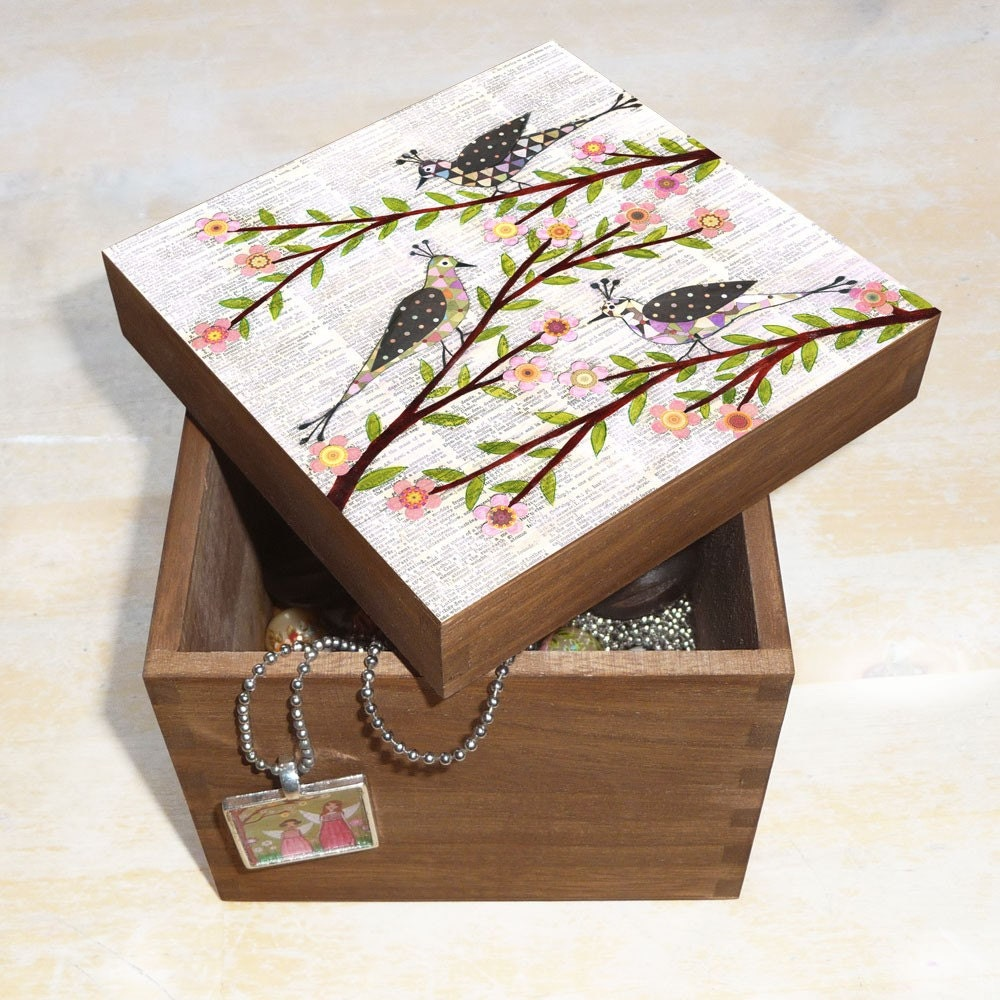 Wooden Handmade Whimsical Bird Art Jewelry Box Wood by Sascalia