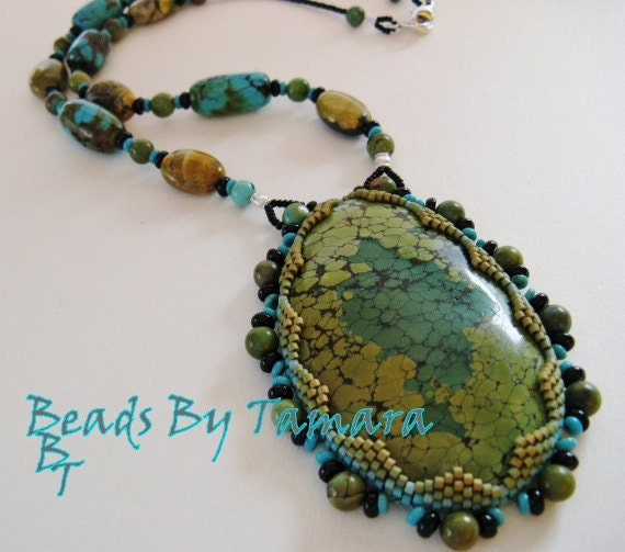 Hand beaded turquoise cabochon necklace, A Fancy bit of the Southwest