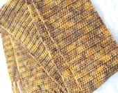 Brown and Tan Merino Wool Scarf