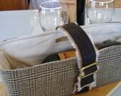 Wine Tote in Cozy Plaid Wool