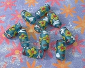 Lampwork Beads, Teal Flowered Tube, 17-18mm 10 pcs.