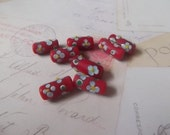 Lampwork Beads, Tube, Red with Flowers, 8 pcs. 17X7mm  no.LWTP-005