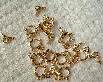 Toggle Clasps, 12mm, Package of 10 sets, Gold Plated   0971-00