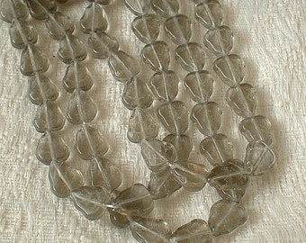 Czech Glass Beads, Leaf, 10X9MM, Black Diamond, 25 pcs (No.2220-04)