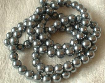 Glass Pearls, 8mm, Silver Grey,  50 pcs   GP-SG