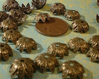 Bead Caps, 10mm, Star Flower, Antique Bronze, 50 pcs....5746SAB