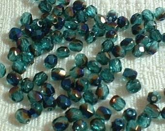 Czech FIre Polish Crystal, Tr. Capri Blue Azuro, 4mm 25 pcs (No.4757)