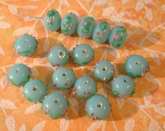 Lampwork Beads, Turquoise, 10 pcs. Rondel, 9X12mm....No. Y134
