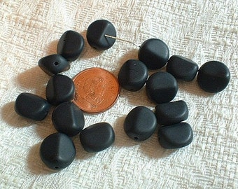 Czech Pinched Black Beads, 16 Pcs. No. 8000-761
