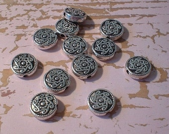 Metal Beads - 10X10X4mm, Coin, Antique Silver, 12 Pcs    No. 26874-AS