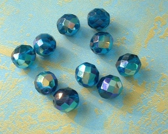 Czech Fire Polish Crystal Beads, Tr. Dark Aqua Blue AB, 10mm, 10 Pcs.  no. 0006