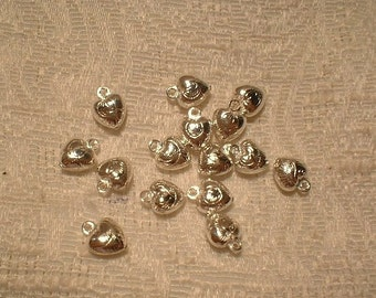Silver Plated Brass Heart Charms, 9X7mm, 15 Pcs.   No. 11443