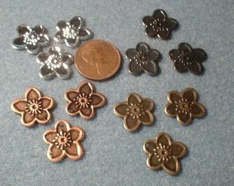 Flower Charms, 15mm, Choice of Colour/mix, 50 Pcs.   No. 14515