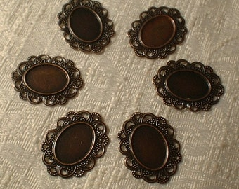 Cabochon Setting, Antique Copper, 12 pcs., 24mm X 32mm