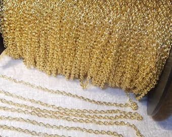 Chain, Gold Plated, 3X2mm,  6 feet