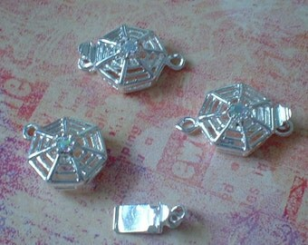 Box Clasps, Silver Plated Brass, 14X21mm, Spider Web Design With Crystal, 3 pcs  No.