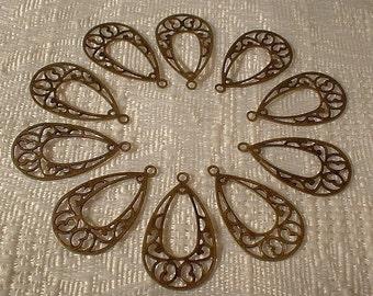 Antique Bronze Filagree Drop Pendants, 24X14mm, 10 Pcs....No. 02301