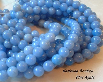 Blue Agate Beads, Round, 6mm, 1/2 Strand
