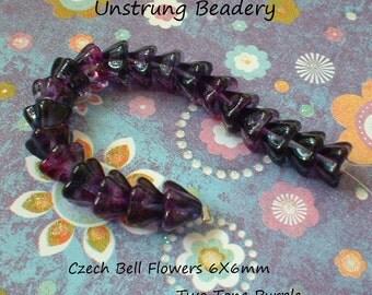 Czech Glass Bell Flowers, 6X8mm, Two Tone Purple, 20 Pcs    No. 2829-02