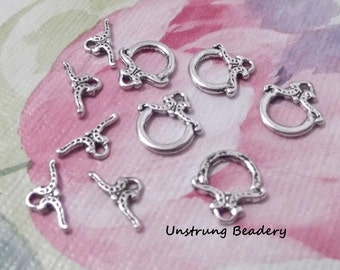 Toggle Clasps, 12mm,  10 sets, AntiqueSilver Finish No. 61635AS