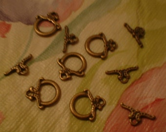 Toggle Clasps, 12mm,  10 sets, Antique Bronze  Finish No. 61635AB