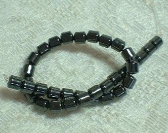 Hematite Drum Beads, 4x4mm, 6 inch strand