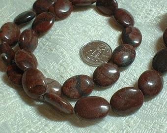Red Jasper Flat Oval Beads, 14X10mm, 1 strand