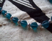 PEACOCK BLUE Glass Bead NECKLACE/Fluted Glass Bead Necklace/Teal Beaded Necklace