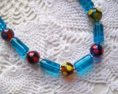 Vintage European GLASS PEACOCK Beads NECKLACE, Holiday Gift