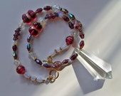Sale/Check Coupon Code - Beaded CRANBERRY PRISM Pendant