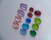 LUCKY THIRTEEN Czech Pressed Glass OVAL Bead Mix
