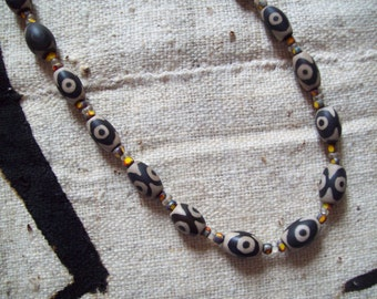 TRIBAL Necklace/MEN'S Choker/Tibetan Necklace/Stone Necklaces/AFRICAN Agate Beaded Necklace/Avatar Necklace/Agate Necklace