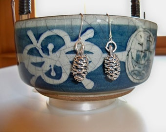 PINE CONE Silver EARRINGS/Stocking Stuffer/Pine Cone Earrings/Silverplate Earrings/Nature Earrings